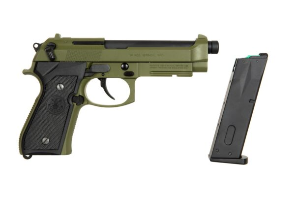 Pistol Airsoft G&G GPM92 GP2 1J Green Gas Cu Recul Metal Verde