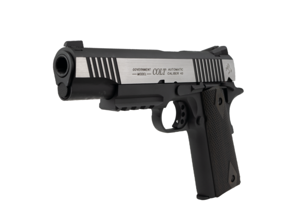 Pistol Airsoft Cybergun COLT 1911 1911 Rail Gun ® 1J CO2 Cu Recul Metal Negru/Argintiu