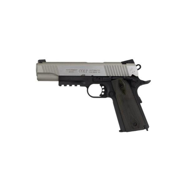Pistol Airsoft Cybergun COLT 1911 Rail Gun ® 1J CO2 Cu Recul Metal Negru/Gri/Argintiu