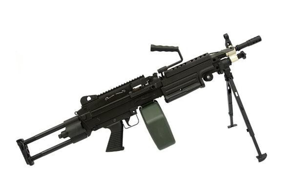 Mitraliera Airsoft, A&K, M249 Para KM01, 1.6J, Metal, Negru