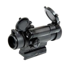 Red dot AIMO M4 Reticul Rosu/Verde 5 Niveluri de intensitate, Sistem de prindere RIS ajustabil pe inaltime, Capace de protectie Flip-Upm, Marker Laser, Negru