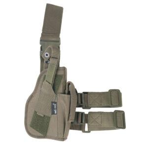 Toc pistol MilTec LOW RIDE de Picior, cu portincarcator, universal, Verde